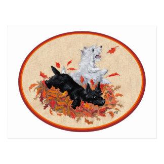 Scottie & Westie Fallen Leaves Postcard