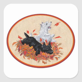 Scottie Westie Fallen Leaves Square Stickers