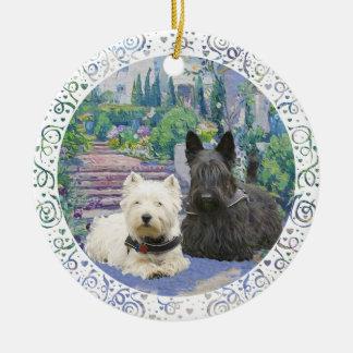 Scottie & Westie in Cozy Garden Ceramic Ornament