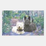 Scottie & Westie in Cozy Garden Stickers