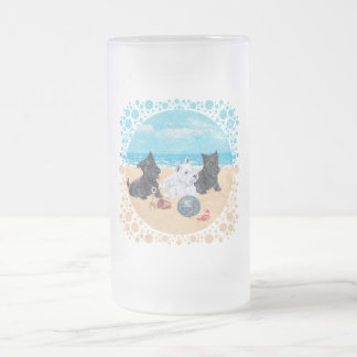 Scottie & Westie Pups at the Beach Frosted Glass Beer Mug