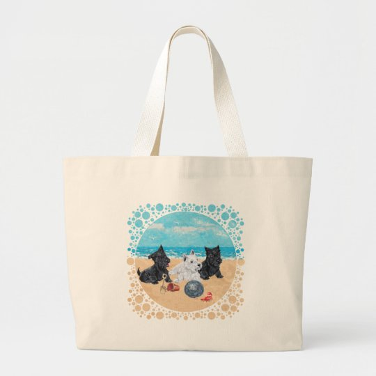 Scottie & Westie Pups at the Beach Large Tote Bag