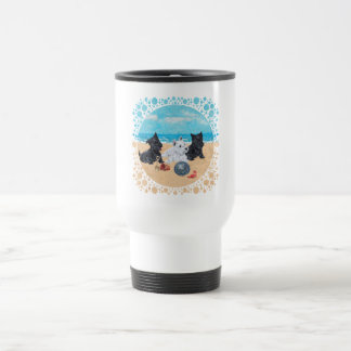 Scottie & Westie Pups at the Beach Travel Mug