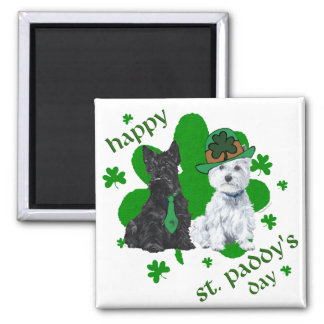 Scottie & Westie St. Paddy's Day 2 Inch Square Magnet