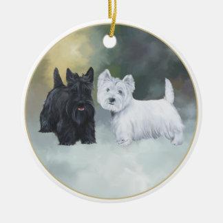 Scottie Westie Wintertime Ceramic Ornament