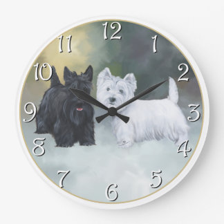 Scottie Westie Wintertime Large Clock