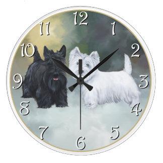 Scottie Westie Wintertime Large Clock