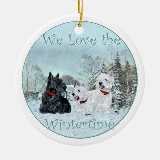 Scottie & Westies Winter Ornament