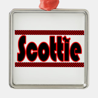 Scottie with Black and Red checkers Metal Ornament