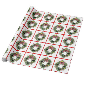 Scottie wreaths gift wrap paper