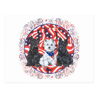 Scotties and a Westie Patriotic Postcard