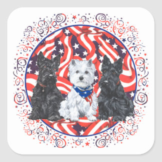 Scotties and a Westie Patriotic Square Sticker