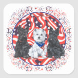 Scotties and a Westie Patriotic Square Stickers
