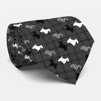 Scotties and Charcoal Plaid Neck Tie