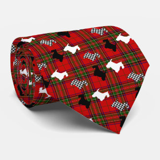 Scotties and Stewart Plaid Neck Tie