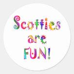 Scotties are Fun Round Stickers
