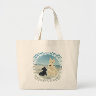 Scotties at the Beach, Wheaten & Black Pup Tote Bags