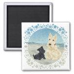 Scotties at the Beach, Wheaten & Black Pup Fridge Magnet