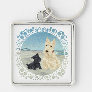 Scotties at the Beach, Wheaten & Black Pup Silver-Colored Square Keychain