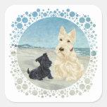 Scotties at the Beach, Wheaten & Black Pup Stickers