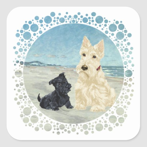 Scotties at the Beach, Wheaten & Black Pup Square Sticker