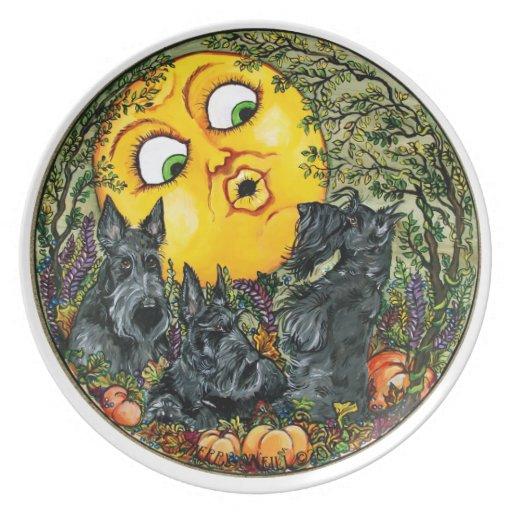 Scotties in Moonlight Plate