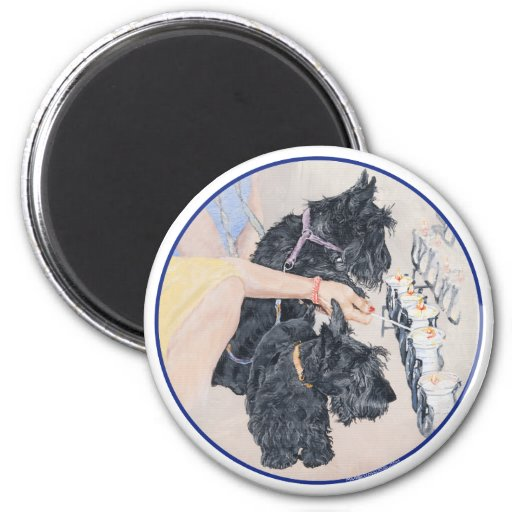 Scotties Lighting Candles 2 Inch Round Magnet