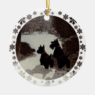 Scotties on Surreal Winter Night Ceramic Ornament