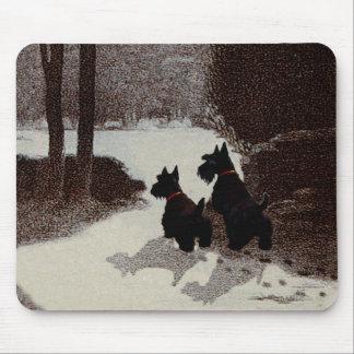 Scotties on Surreal Winter Night Mouse Pad