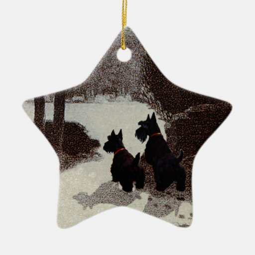 Scotties on Surreal Winter Night Christmas Ornaments