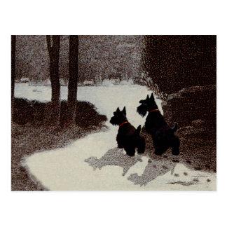 Scotties on Surreal Winter Night Postcard