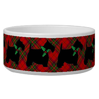Scotties, Plaid and Holly Bowl