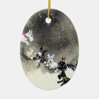 Scotties' Snowfight Ornament