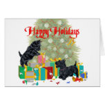 Scotties Sort the Christmas Gifts Greeting Card