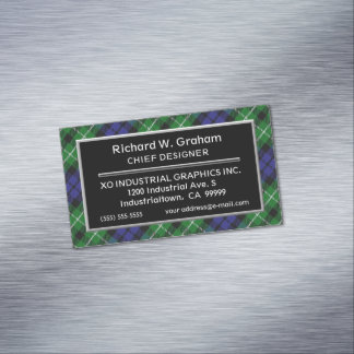 Scottish Accent Clan Graham Tartan Magnetic Business Card