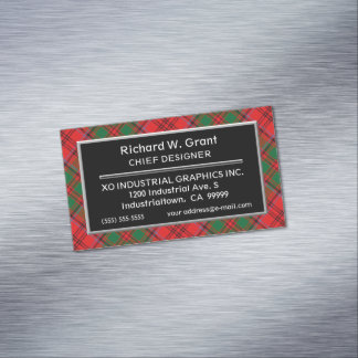 Scottish Accent Clan Grant Tartan Business Card Magnet