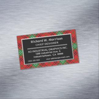Scottish Accent Clan Morrison Tartan Business Card Magnet