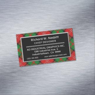 Scottish Accent Clan Nisbet Nesbitt Tartan Business Card Magnet