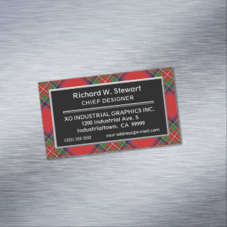 Scottish Accent Clan Stewart Tartan Magnetic Business Card
