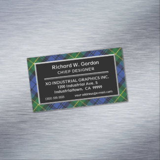 Scottish Accent House of Gordon Clan Tartan Magnetic Business Card