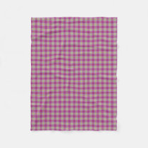 Scottish Accents Pink Yellow Tartan Plaid Fleece Blanket