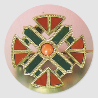 Scottish Agate Gold Jasper Pin Classic Round Sticker