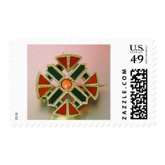 Scottish Agate Gold Jasper Pin Postage