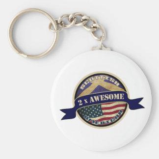 Scottish American 2x Awesome Keyring Keychain