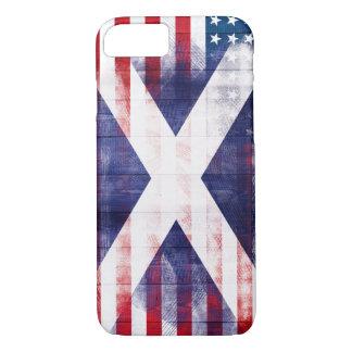 Scottish American Flag | Wood Grain & Paintstrokes iPhone 7 Case