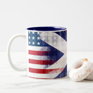 Scottish American Flag | Wood Grain & Paintstrokes Two-Tone Coffee Mug