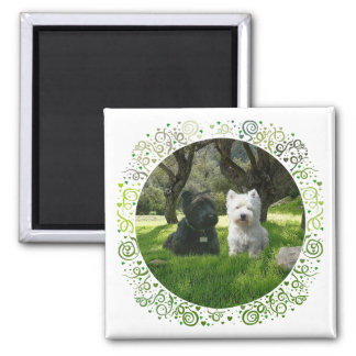 Scottish and West Highland Terriers Greenwood 2 Inch Square Magnet