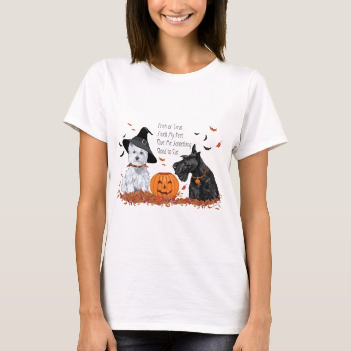 Scottish and West Highland White Terrier Halloween T-Shirt