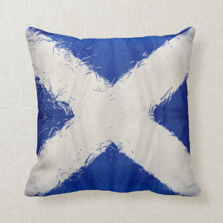 Scottish art flag distressed throw pillow