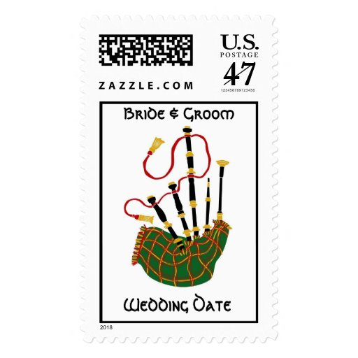 Scottish Bagpipe Wedding Postage Stamp Zazzle